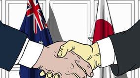Zakenlieden of politici die handen schudden tegen vlaggen van Australië en Japan Vergadering of samenwerking verwant beeldverhaal stock illustratie