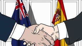 Zakenlieden of politici die handen schudden tegen vlaggen van Australië en Spanje Vergadering of samenwerking verwant beeldverhaa royalty-vrije illustratie