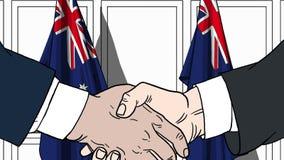 Zakenlieden of politici die handen schudden tegen vlaggen van Australië Vergadering of samenwerking verwante beeldverhaalillustra stock illustratie
