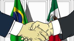 Zakenlieden of politici die handen schudden tegen vlaggen van Brazilië en Mexico Vergadering of samenwerking verwant beeldverhaal stock illustratie