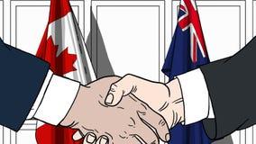 Zakenlieden of politici die handen schudden tegen vlaggen van Canada en Australië Vergadering of samenwerking verwant beeldverhaa stock illustratie