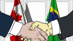 Zakenlieden of politici die handen schudden tegen vlaggen van Canada en Brazilië Vergadering of samenwerking verwant beeldverhaal vector illustratie