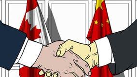 Zakenlieden of politici die handen schudden tegen vlaggen van Canada en China Vergadering of samenwerking verwant beeldverhaal stock illustratie