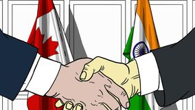 Zakenlieden of politici die handen schudden tegen vlaggen van Canada en India Vergadering of samenwerking verwant beeldverhaal royalty-vrije illustratie