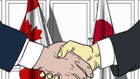 Zakenlieden of politici die handen schudden tegen vlaggen van Canada en Japan Vergadering of samenwerking verwant beeldverhaal stock illustratie