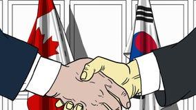 Zakenlieden of politici die handen schudden tegen vlaggen van Canada en Korea Vergadering of samenwerking verwant beeldverhaal royalty-vrije illustratie