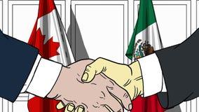 Zakenlieden of politici die handen schudden tegen vlaggen van Canada en Mexico Vergadering of samenwerking verwant beeldverhaal stock illustratie