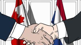 Zakenlieden of politici die handen schudden tegen vlaggen van Canada en Nederland Vergadering of samenwerking verwant beeldverhaa vector illustratie