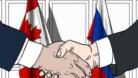 Zakenlieden of politici die handen schudden tegen vlaggen van Canada en Rusland Vergadering of samenwerking verwant beeldverhaal stock illustratie