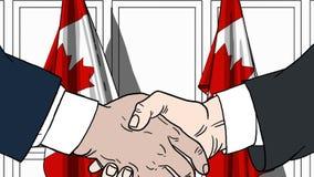 Zakenlieden of politici die handen schudden tegen vlaggen van Canada Vergadering of samenwerking verwante beeldverhaalillustratie stock illustratie