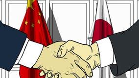 Zakenlieden of politici die handen schudden tegen vlaggen van China en Japan Vergadering of samenwerking verwant beeldverhaal vector illustratie