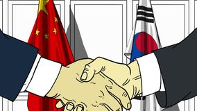 Zakenlieden of politici die handen schudden tegen vlaggen van China en Korea Vergadering of samenwerking verwant beeldverhaal vector illustratie