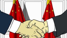 Zakenlieden of politici die handen schudden tegen vlaggen van China Vergadering of samenwerking verwante beeldverhaalillustratie royalty-vrije illustratie