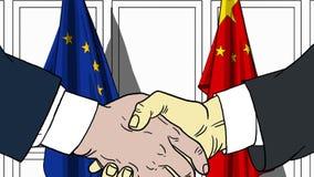 Zakenlieden of politici die handen schudden tegen vlaggen van de EU en China Vergadering of samenwerking verwant beeldverhaal royalty-vrije illustratie