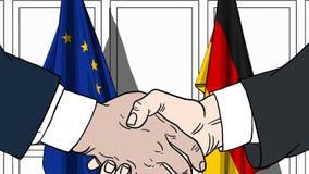 Zakenlieden of politici die handen schudden tegen vlaggen van de EU en Duitsland Vergadering of samenwerking verwant beeldverhaal vector illustratie