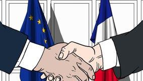 Zakenlieden of politici die handen schudden tegen vlaggen van de EU en Frankrijk Vergadering of samenwerking verwant beeldverhaal stock illustratie