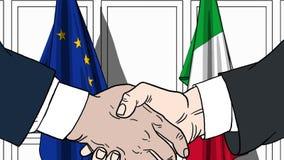 Zakenlieden of politici die handen schudden tegen vlaggen van de EU en Italië Vergadering of samenwerking verwant beeldverhaal vector illustratie