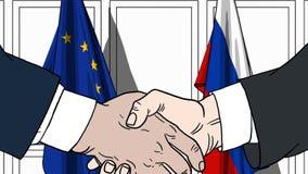 Zakenlieden of politici die handen schudden tegen vlaggen van de EU en Rusland Vergadering of samenwerking verwant beeldverhaal royalty-vrije illustratie