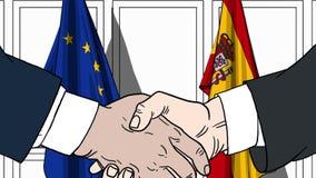 Zakenlieden of politici die handen schudden tegen vlaggen van de EU en Spanje Vergadering of samenwerking verwant beeldverhaal royalty-vrije illustratie