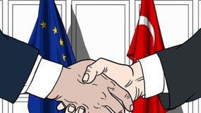 Zakenlieden of politici die handen schudden tegen vlaggen van de EU en Turkije Vergadering of samenwerking verwant beeldverhaal royalty-vrije illustratie