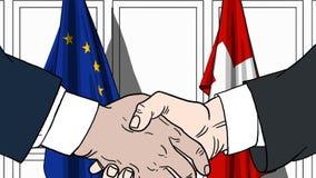 Zakenlieden of politici die handen schudden tegen vlaggen van de EU en Zwitserland Vergadering of samenwerking verwant beeldverha stock illustratie