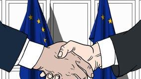 Zakenlieden of politici die handen schudden tegen vlaggen van de EU Vergadering of samenwerking verwante beeldverhaalillustratie stock illustratie