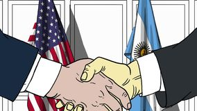 Zakenlieden of politici die handen schudden tegen vlaggen van de V.S. en Argentinië Vergadering of samenwerking verwant beeldverh royalty-vrije illustratie