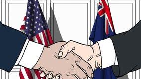 Zakenlieden of politici die handen schudden tegen vlaggen van de V.S. en Australië Vergadering of samenwerking verwant beeldverha stock illustratie