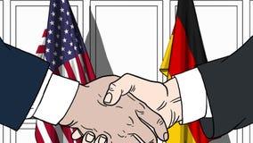 Zakenlieden of politici die handen schudden tegen vlaggen van de V.S. en Duitsland Vergadering of samenwerking verwant beeldverha stock illustratie