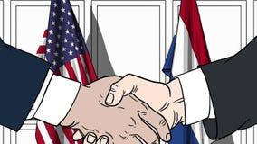 Zakenlieden of politici die handen schudden tegen vlaggen van de V.S. en Nederland Vergadering of samenwerking verwant beeldverha royalty-vrije illustratie