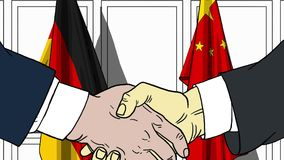 Zakenlieden of politici die handen schudden tegen vlaggen van Duitsland en China Vergadering of samenwerking verwant beeldverhaal royalty-vrije illustratie