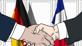 Zakenlieden of politici die handen schudden tegen vlaggen van Duitsland en Frankrijk Vergadering of samenwerking verwant beeldver royalty-vrije illustratie