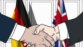 Zakenlieden of politici die handen schudden tegen vlaggen van Duitsland en Groot-Brittannië Verwante vergadering of samenwerking stock illustratie