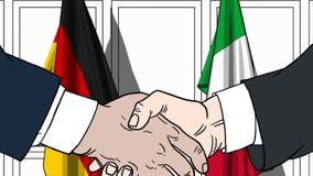 Zakenlieden of politici die handen schudden tegen vlaggen van Duitsland en Italië Vergadering of samenwerking verwant beeldverhaa royalty-vrije illustratie