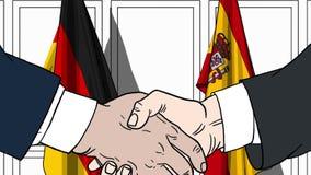 Zakenlieden of politici die handen schudden tegen vlaggen van Duitsland en Spanje Vergadering of samenwerking verwant beeldverhaa royalty-vrije illustratie