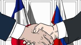 Zakenlieden of politici die handen schudden tegen vlaggen van Frankrijk en Rusland Vergadering of samenwerking verwant beeldverha vector illustratie