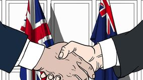 Zakenlieden of politici die handen schudden tegen vlaggen van Groot-Brittannië en Australië Verwante vergadering of samenwerking vector illustratie