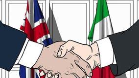 Zakenlieden of politici die handen schudden tegen vlaggen van Groot-Brittannië en Italië Verwante vergadering of samenwerking vector illustratie