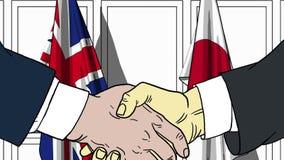 Zakenlieden of politici die handen schudden tegen vlaggen van Groot-Brittannië en Japan Verwante vergadering of samenwerking vector illustratie
