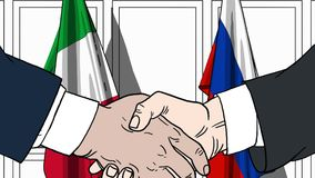 Zakenlieden of politici die handen schudden tegen vlaggen van Italië en Rusland Vergadering of samenwerking verwant beeldverhaal royalty-vrije illustratie