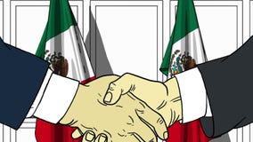 Zakenlieden of politici die handen schudden tegen vlaggen van Mexico Vergadering of samenwerking verwante beeldverhaalillustratie vector illustratie