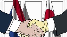 Zakenlieden of politici die handen schudden tegen vlaggen van Nederland en Japan Vergadering of samenwerking verwant beeldverhaal royalty-vrije illustratie