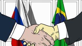 Zakenlieden of politici die handen schudden tegen vlaggen van Rusland en Brazilië Vergadering of samenwerking verwant beeldverhaa royalty-vrije illustratie