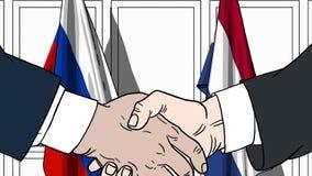 Zakenlieden of politici die handen schudden tegen vlaggen van Rusland en Nederland Vergadering of samenwerking verwant beeldverha vector illustratie