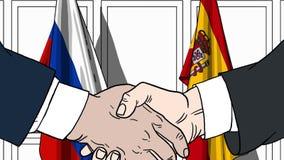Zakenlieden of politici die handen schudden tegen vlaggen van Rusland en Spanje Vergadering of samenwerking verwant beeldverhaal royalty-vrije illustratie