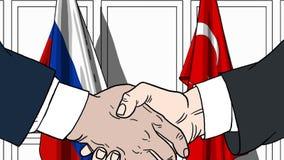 Zakenlieden of politici die handen schudden tegen vlaggen van Rusland en Turkije Vergadering of samenwerking verwant beeldverhaal vector illustratie