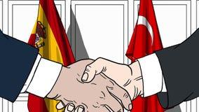 Zakenlieden of politici die handen schudden tegen vlaggen van Spanje en Turkije Vergadering of samenwerking verwant beeldverhaal vector illustratie