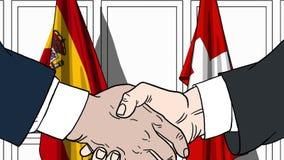Zakenlieden of politici die handen schudden tegen vlaggen van Spanje en Zwitserland Vergadering of samenwerking verwant beeldverh stock illustratie