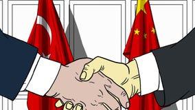 Zakenlieden of politici die handen schudden tegen vlaggen van Turkije en China Vergadering of samenwerking verwant beeldverhaal vector illustratie