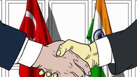 Zakenlieden of politici die handen schudden tegen vlaggen van Turkije en India Vergadering of samenwerking verwant beeldverhaal vector illustratie
